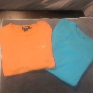 Two bling short sleeve MK & DKNY T's Size M